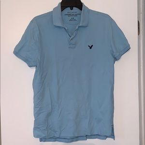American eagle light blue polo with navy logo